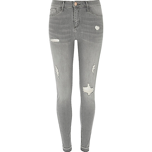 Grey Molly ripped skinny fit jeggings