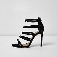 Black multi strap bow barely there sandals