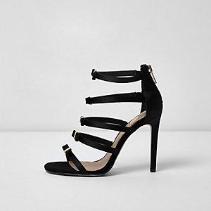 Zwarte minimalistische sandalen met meerdere bandjes en strik