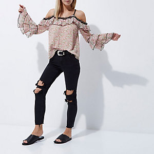 Petite pink floral frill cold shoulder top