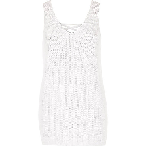 White knit metallic lace-up back vest