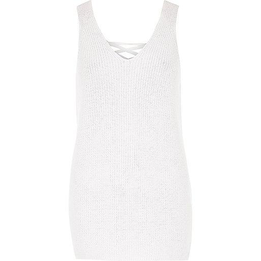 White knit metallic lace-up back tank