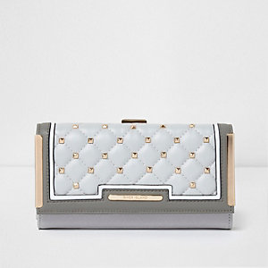 Grey quilted studded clip top purse