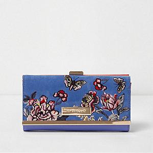 Lichtblauwe geborduurde portemonnee met bloemenprint