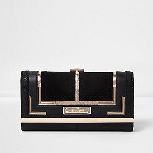 Zwarte portemonnee van gecombineerde structuur met druksluiting