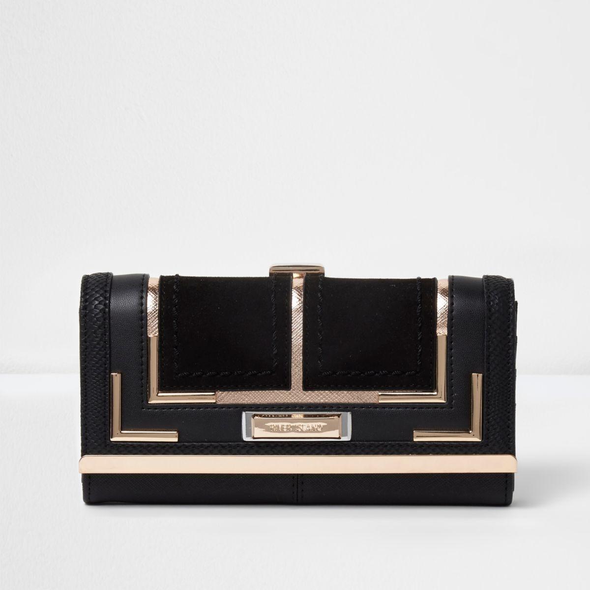 Black mixed texture clip top purse
