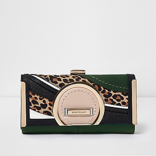 Dark green leopard print panel clip top purse