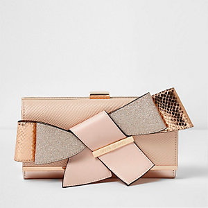 Rose gold tone 3D bow clip top purse
