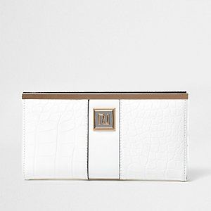 White croc embossed slim foldout purse