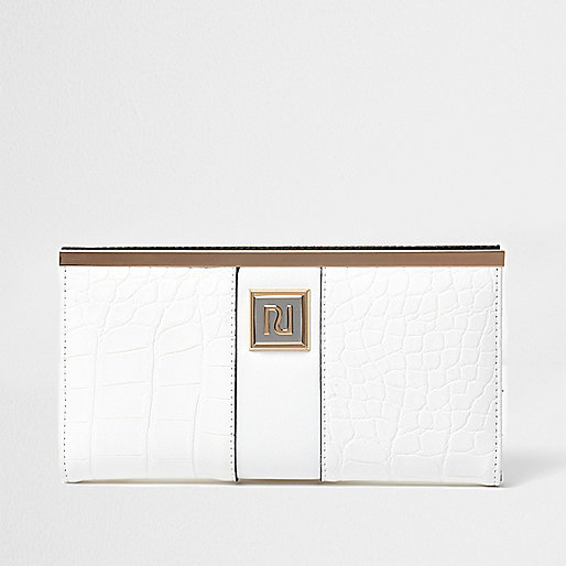 White croc embossed slim foldout purse