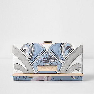 Blauwe gebloemde portemonnee met druksluiting