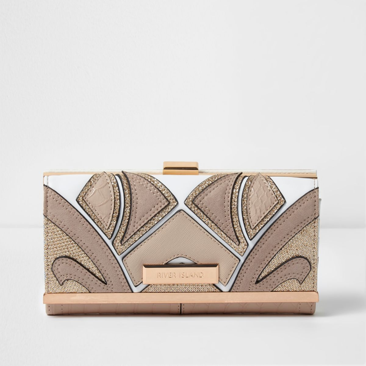 Beige cut about clip top purse