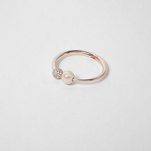 Rose gold tone pearl hinge ring