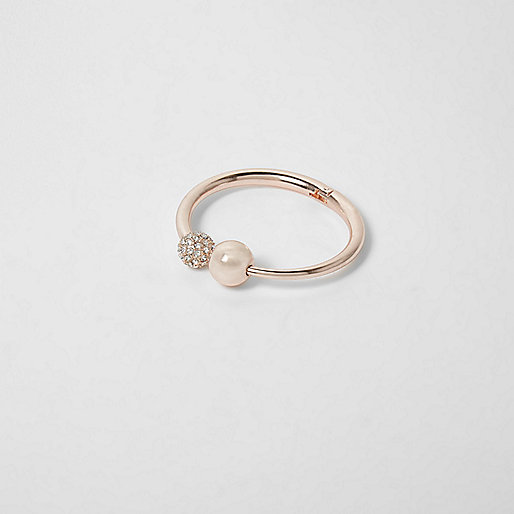 Rose gold tone pearl hinge bracelet