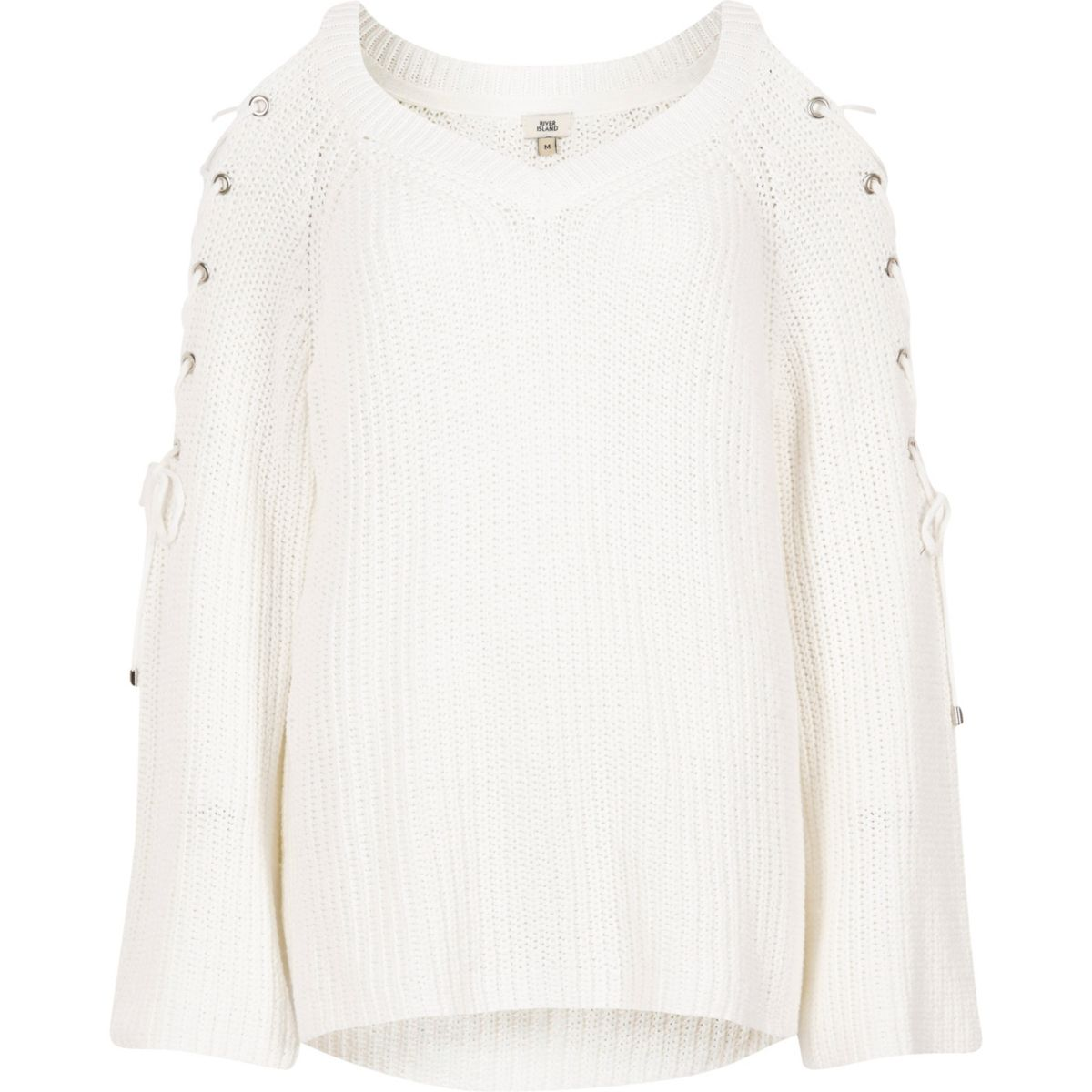 White tie shoulder flared sleeve knit jumper