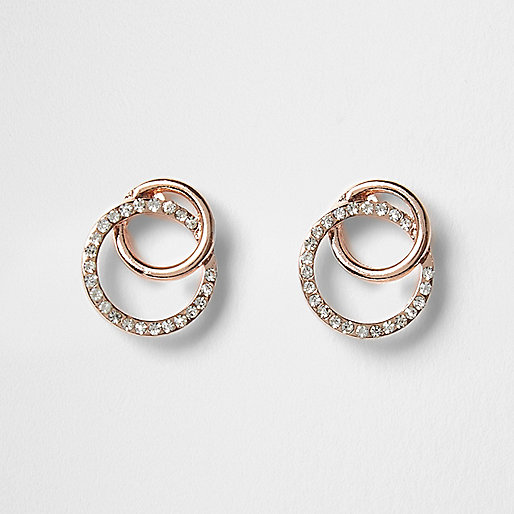Rose gold interlocking rhinestone earrings
