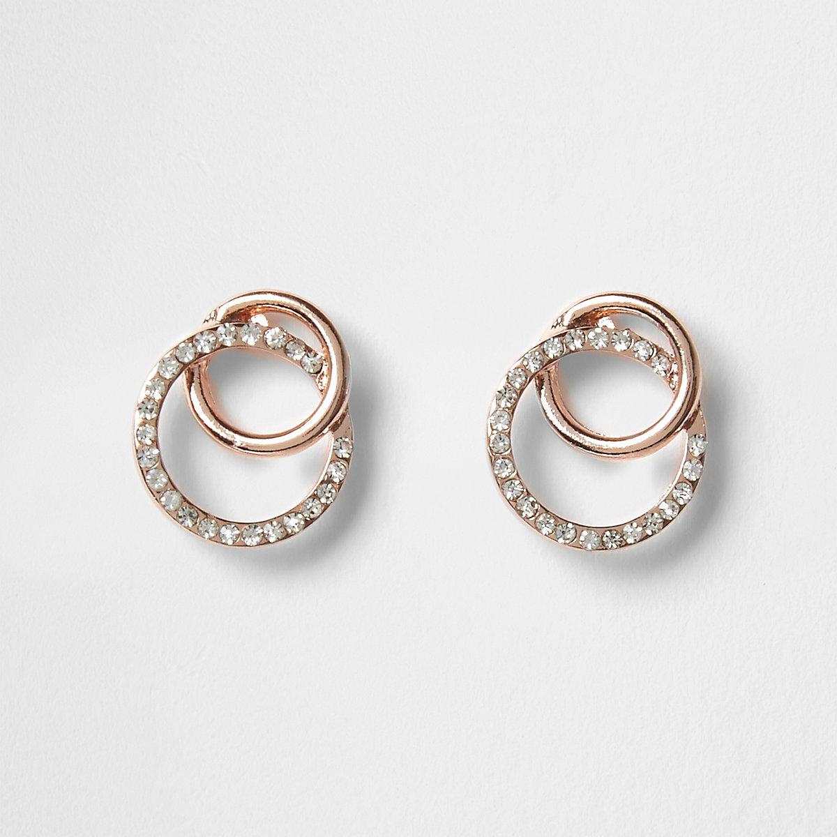 Rose gold interlocking diamante earrings