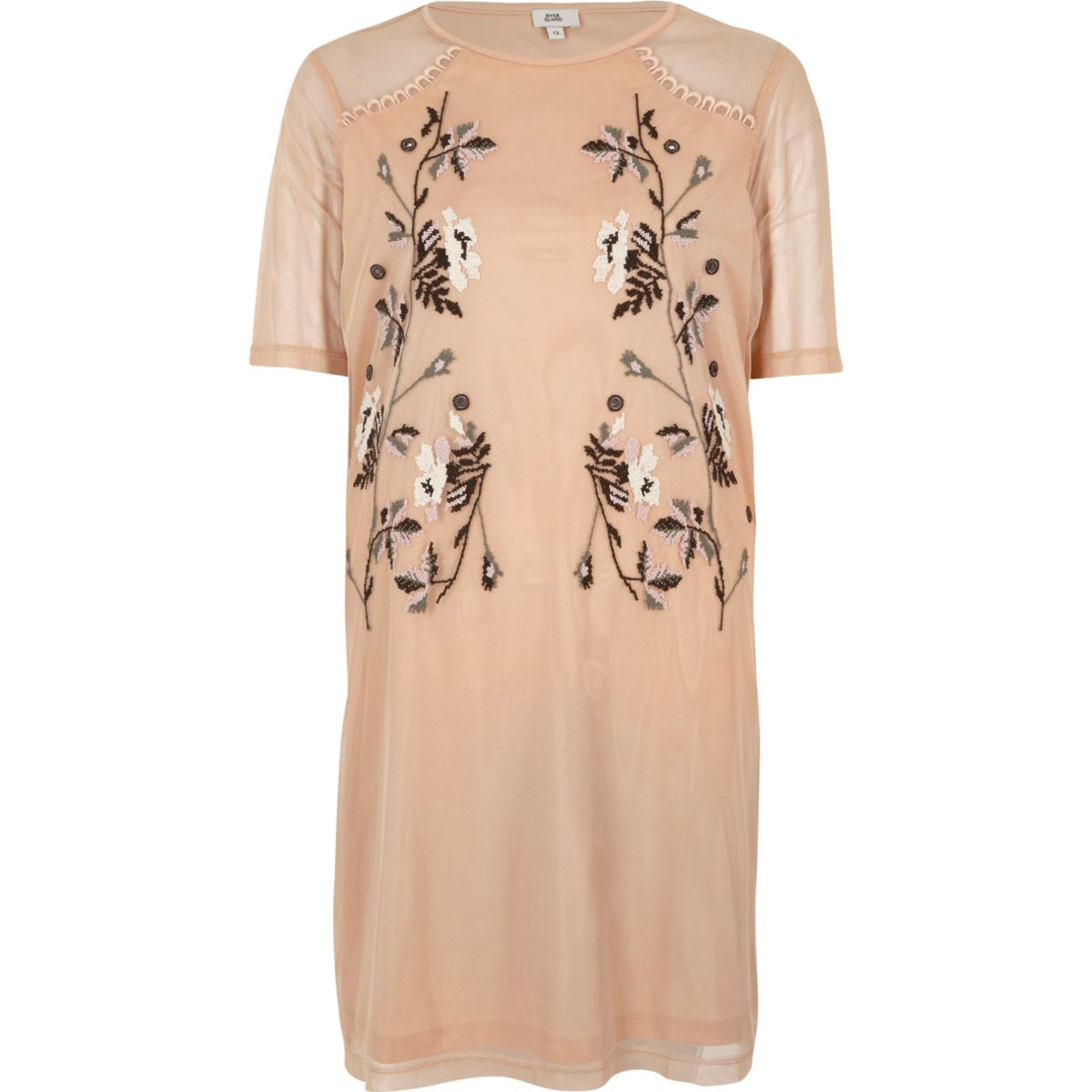 Light pink mesh embroidered T-shirt dress
