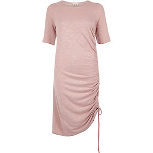 Pink ruched midi dress