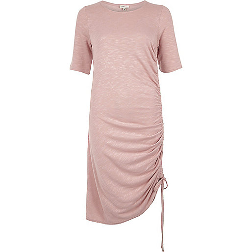 Pink ruched midi dress