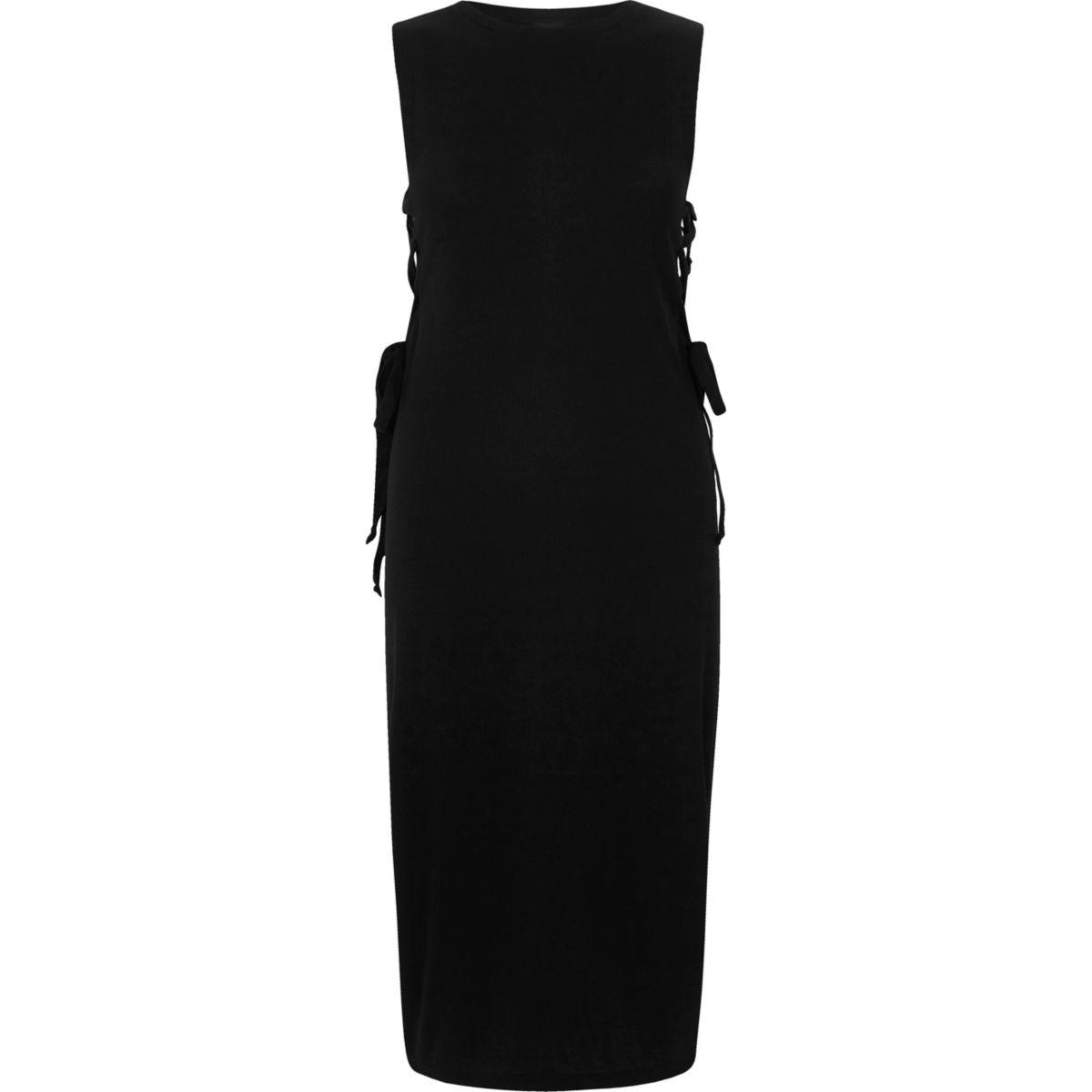 Black lace-up side bodycon dress