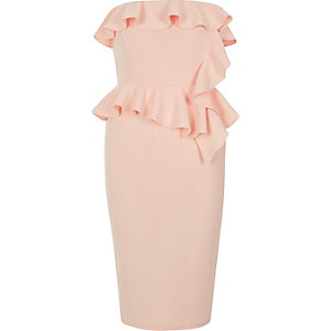 Light pink frill strapless bodycon dress