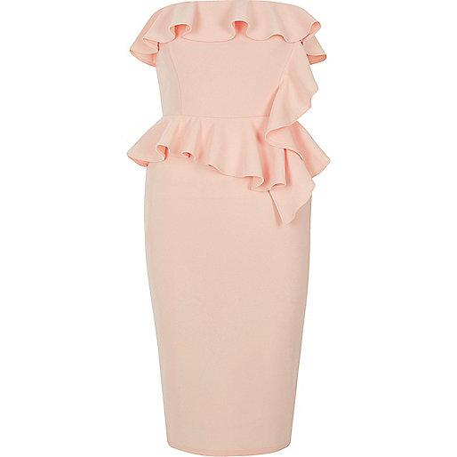 Light pink frill strapless bodycon dress