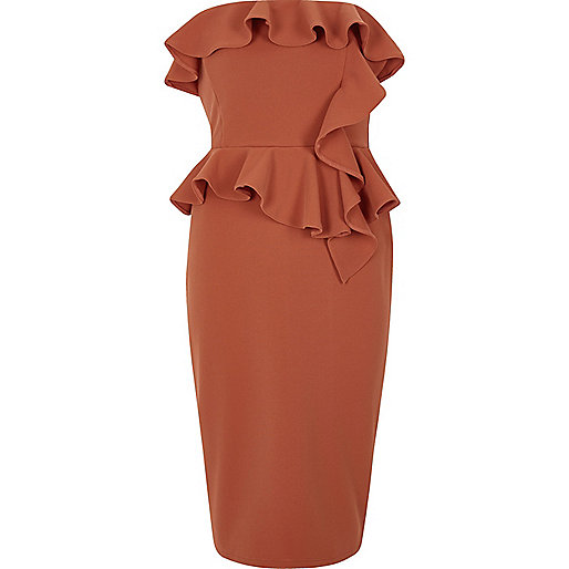 Rust orange frill strapless bodycon dress
