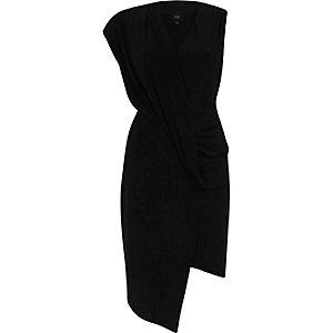 Black sleeveless wrap bodycon dress