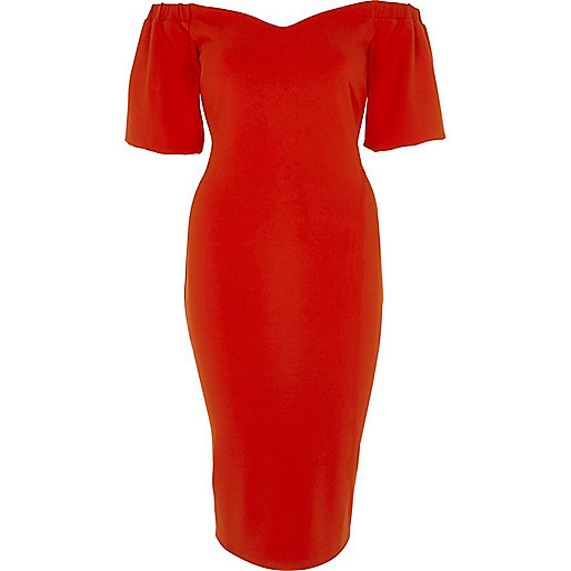 Red puff sleeve bardot bodycon dress