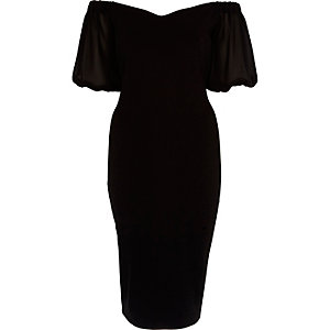Black puff sleeve bardot bodycon dress