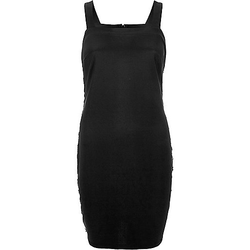 Black eyelet bodycon dress