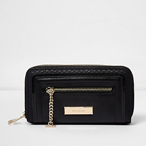 Black double zip around chain purse