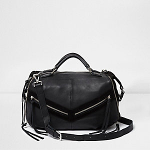 Black leather zip front bowler bag