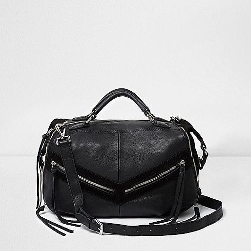 Black leather zip front bowler bag