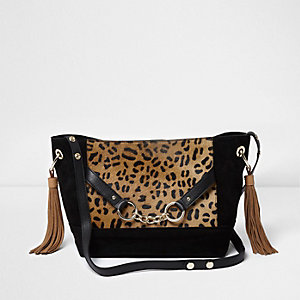 Black leather leopard print slouch bucket bag