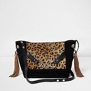 Sac seau souple imprimé léopard en cuir noir