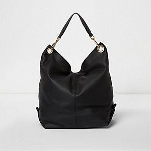 Schwarzer, wendbarer Rucksack aus Leder