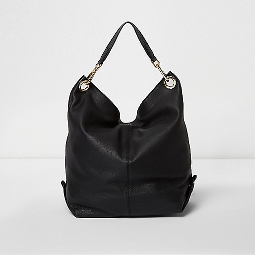 Black leather slouch convertible backpack