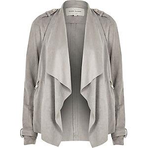 Grey fallaway faux suede jacket