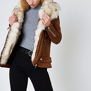 Tan faux fur trim aviator jacket