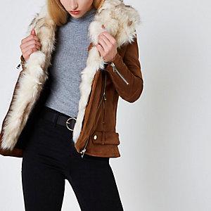 Tan fur trim aviator jacket