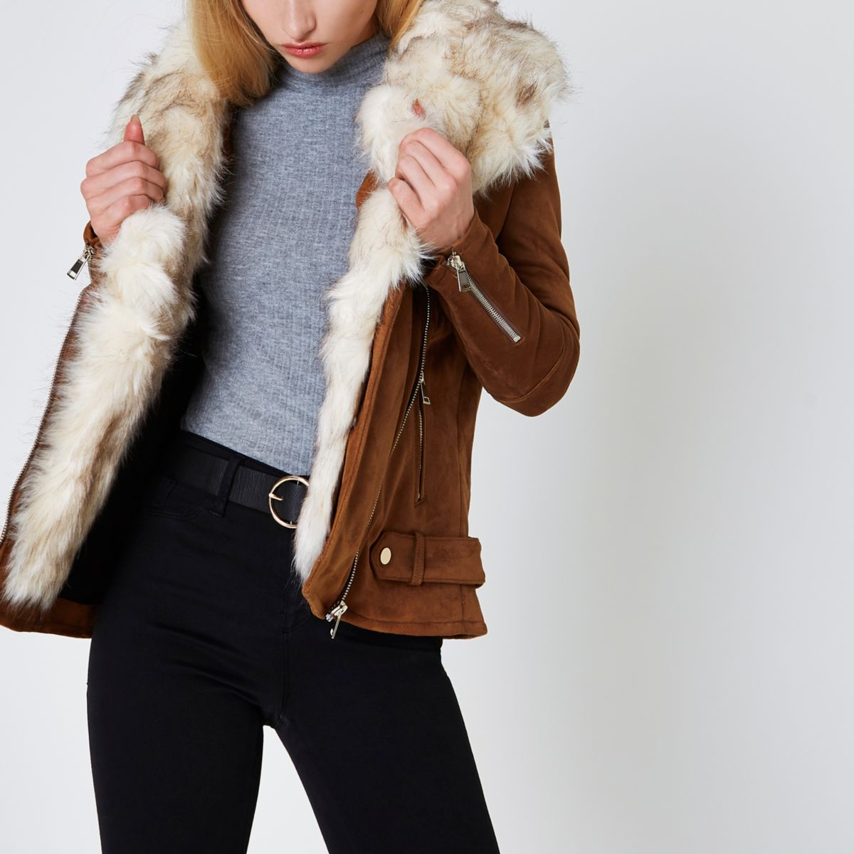 Tan faux fur trim aviator jacket