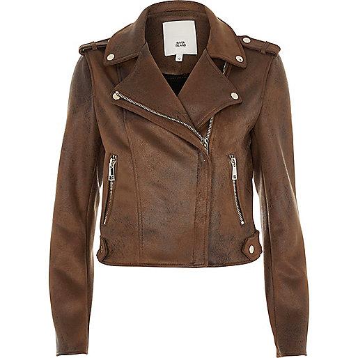 perfecto marron imitation daim vestes manteaux vestes femme. Black Bedroom Furniture Sets. Home Design Ideas