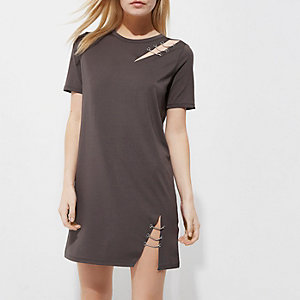 Petite grey ripped T-shirt dress
