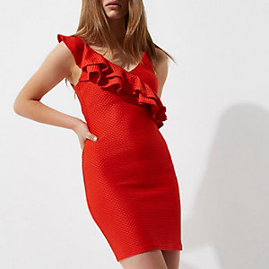 Petite red asymmetric frill bodycon dress