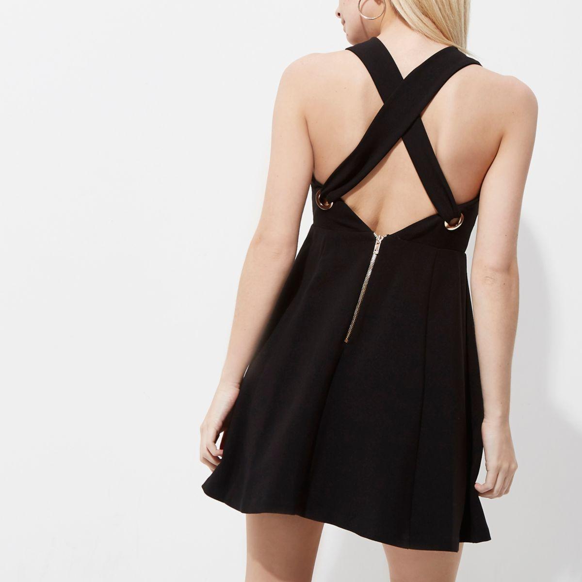 Petite black cross back skater dress