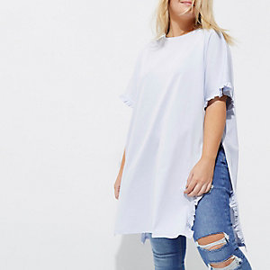 Plus light blue frill oversized T-shirt