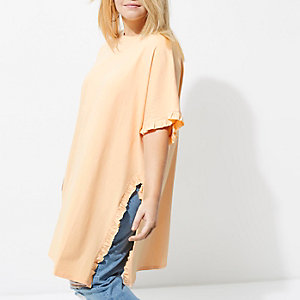 Plus light orange frill oversized T-shirt
