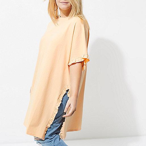 Plus light orange frill oversized T-shirt